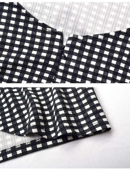 Zwart-wit Gingham Back Tie-up Slanke jurk - Lupsona