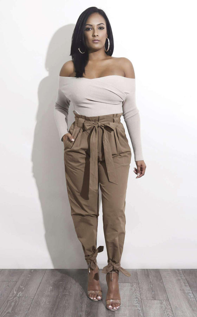 Belted High Waist Ankle Lace Up Casual Loose Pants Lupsona