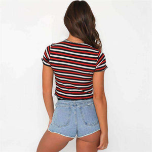 Contrast Color Stripes Crop T-Shirt - Lupsona