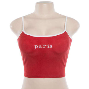 Honey / Paris Letters Broderi Strappy Crop Top - Lupsona