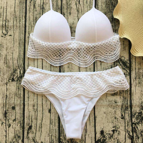 Lace Patchwork Halter 2 Pieces Bikini - Lupsona