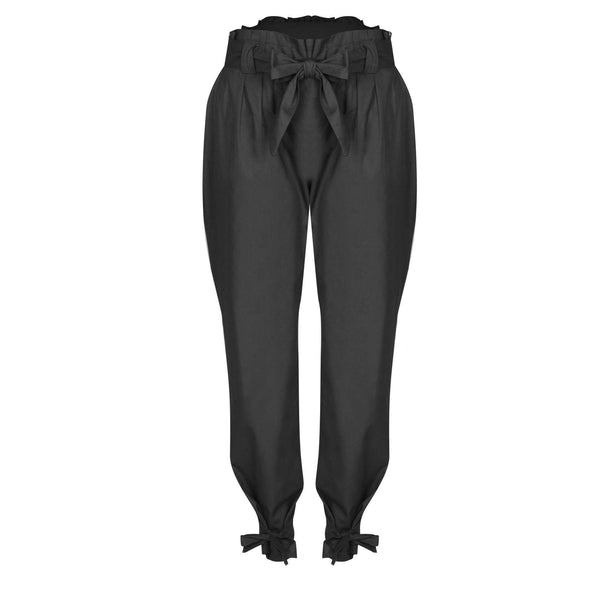 Bæltet High Waist Ankel Lace Up Casual Løse Bukser - Lupsona