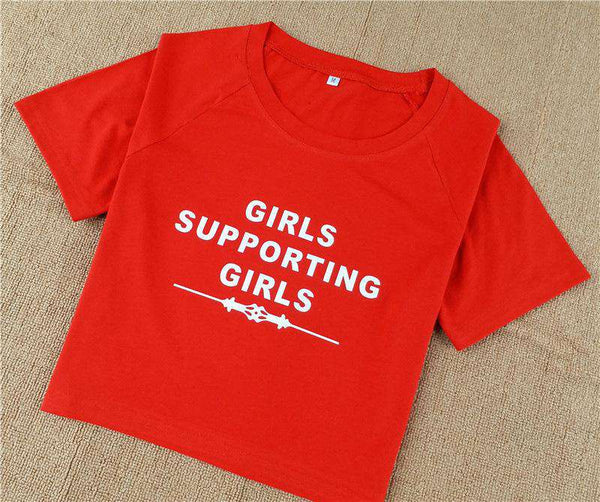 Girls Support Girls Short Sleeve Cropped T-shirt - Lupsona