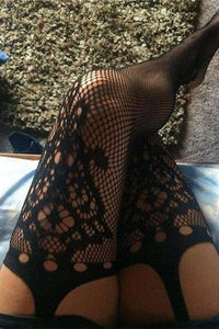 Open Crotch Crochet Jacquard Fishnet Tights Pantyhose - Lupsona