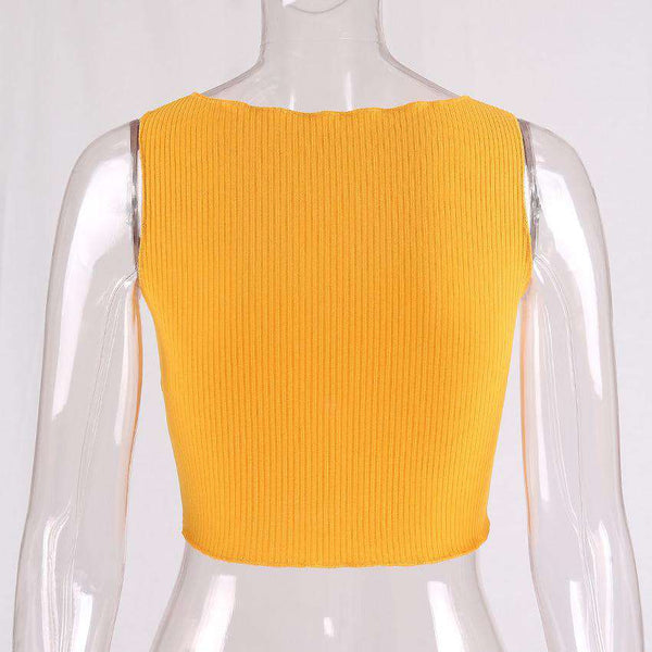 Bow-tie Solid Color Crop Top - Lupsona