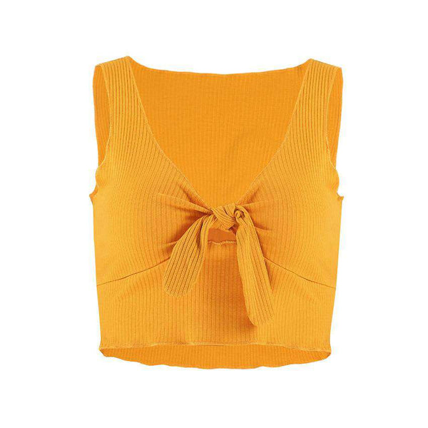 Bow-cravată solid Culoare Crop Top - Lupsona