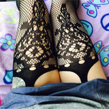 Open Crotch Crochet Jacquard Fishnet Tights Pantyhose