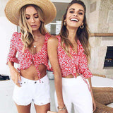 Floral Print Flare Sleeve Crop Top