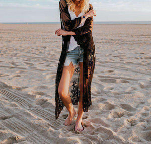 Lace Broderie Bikini Cover-up Cardigan - Lupsona