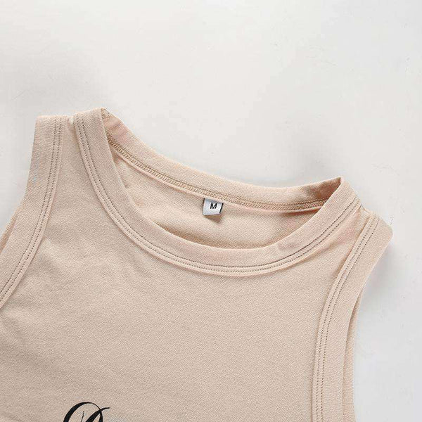 Double Letters Print Sleeveless Crop Tank Top - Lupsona