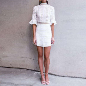 Retro Flare Sleeve Hollow Out White Dress - Lupsona