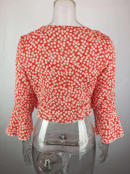 Crop Top a maniche lunghe con stampa floreale - Lupsona
