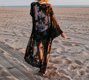 Lace Embroidery Bikini Cover-up Cardigan - Lupsona