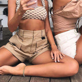 Khaki Pocket Cargo High Waist Casual Shorts