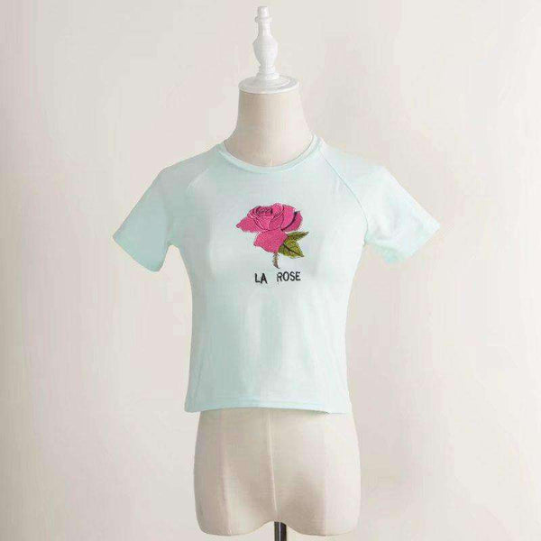 Cute Mermaid / Crane / Rose Print T-shirt Lengan Pendek - Lupsona