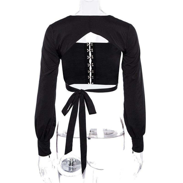 Solid Color Backless Puff Sleeve Crop Blouse Top