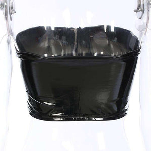 Front Zipper Bright Leather Tube Top - Lupsona