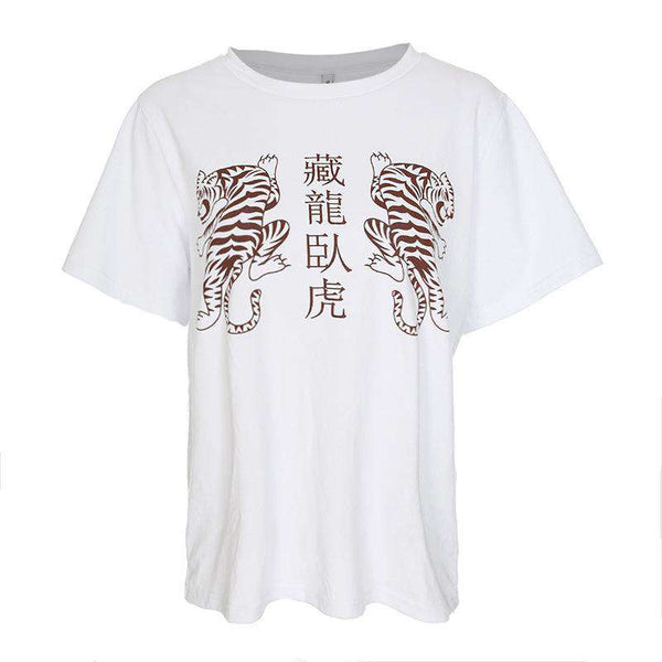 Chinese Tigers Print Casual T-shirt - Lupsona
