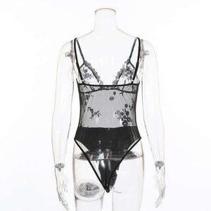 Flower Embroidery Sheer Mesh Bodysuit Undertøj - Lupsona