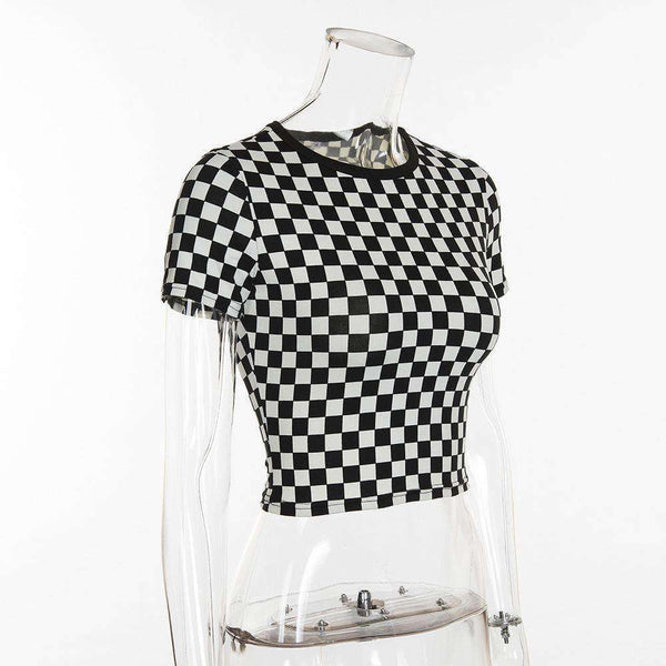 Sort Hvid Checker Print Crop Top - Lupsona