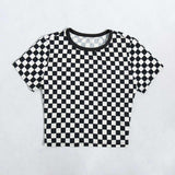 Svart vit Checker Print Crop Top