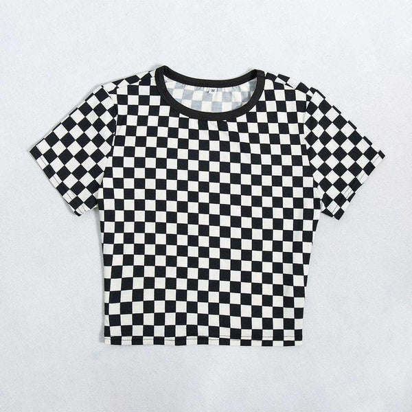 Black White Checker Print Crop Top - Lupsona