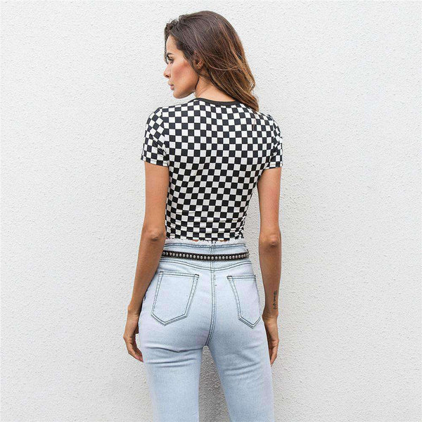 Svart vit Checker Print Crop Top - Lupsona