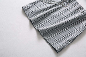 Street Chic Plaid Muster Héich Taille Rock - Lupsona