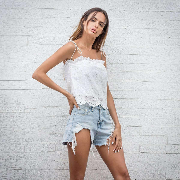 White Off-Shoulder Hollow Out Crop Tube Top