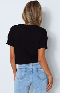 Stripes Patch Einfach Casual Crop Top - Lupsona