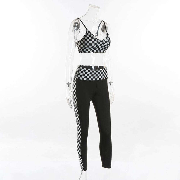 Checkerboard Sports Bra Top Korkeavartiset Housut Set - Lupsona