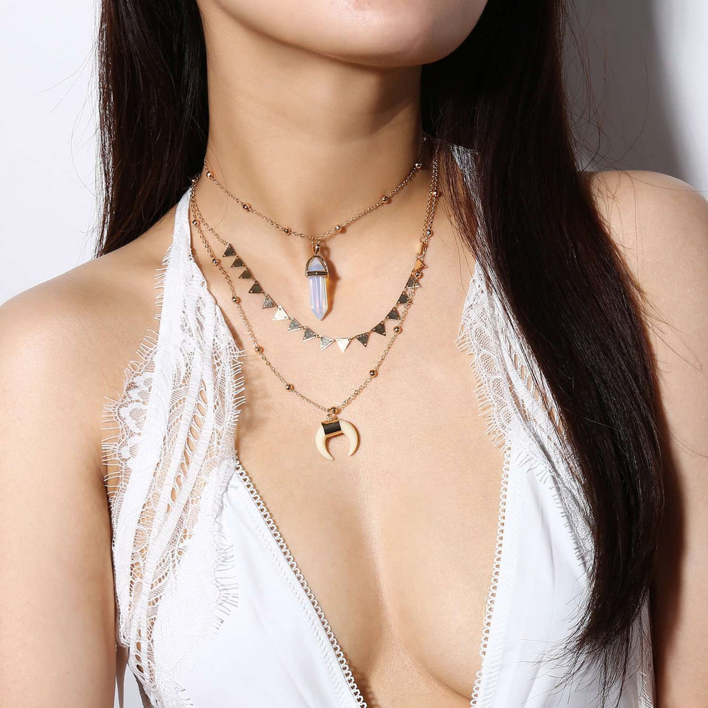 Crescent Crystal Pendent Triangle Necklace Set – Lupsona