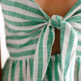 Cute Striped Front-Krawat Bowknot Kleed Kleed - Lupsona