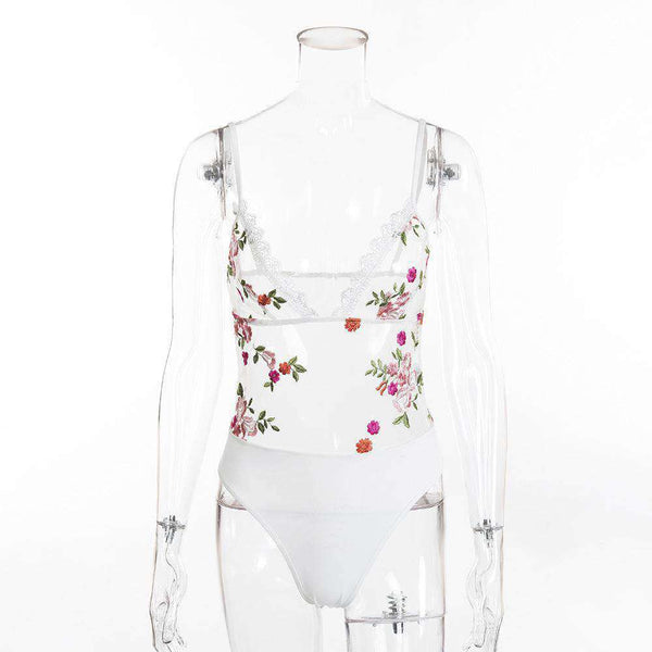 Flower Embroidery Sheer Mesh Bodysuit Lingerie - Lupsona
