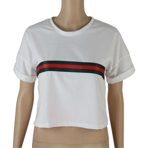 Stripes Patch Simple Casual Crop Top - Lupsona