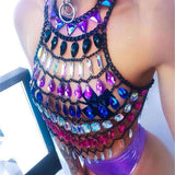 Gem Hollow Out Halter Tassels Crop Top
