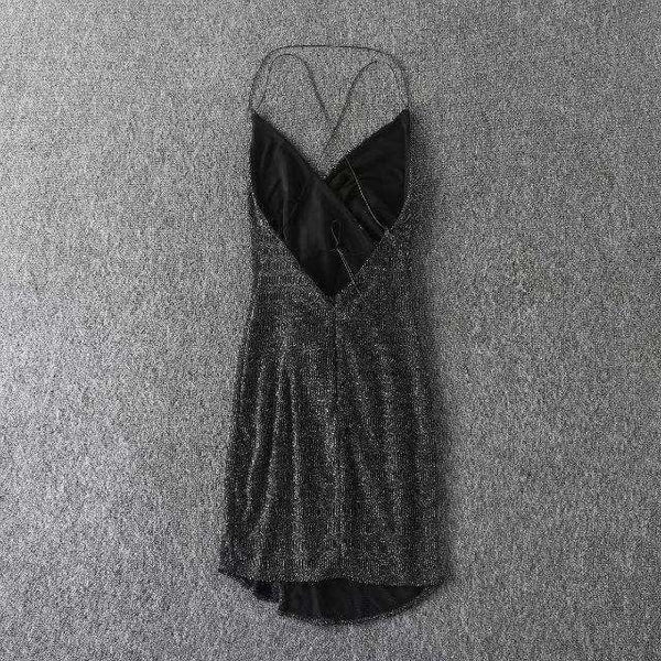 Glitter Backless Strappy Mini Dress - Lupsona