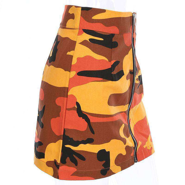 Cool Camouflage Print Front Zipper Skirt - Lupsona