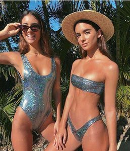 Sequins Strapless 2 Pieces Bikini Set - Lupsona