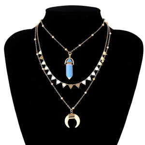 Crescent Crystal Pendent Triangle Necklace Set - Lupsona