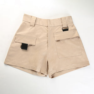 Khaki Pocket Cargo High Waist Kjóll Shorts - Lupsona