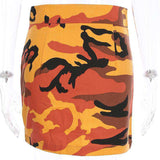 Cool Camouflage Print Front Zipper Skirt