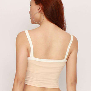 Simple White Hem Strappy Crop Top - Lupsona