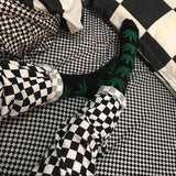 black&white checkerboard slim casual pants - Lupsona