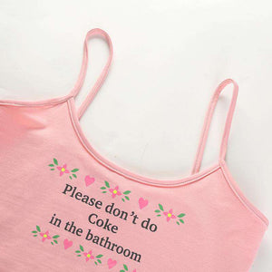 cute letters and flowers printed crop top - Lupsona