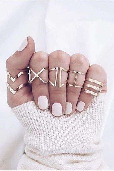 Chic V & X Type Hollow Out Ring Set - Lupsona