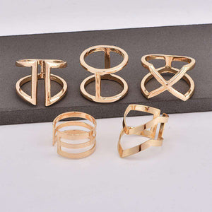 Chic V & X Typ Hollow Out Ring Set - Lupsona