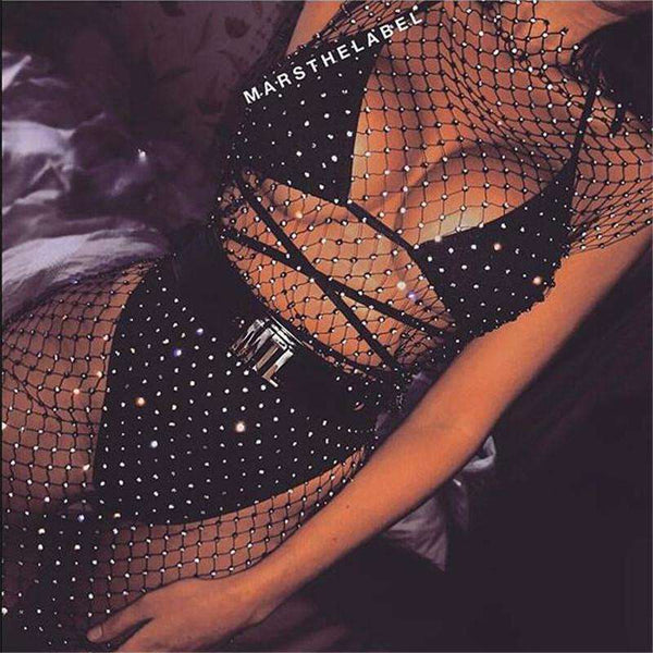 Sparkle Diamond Fishnet Side Odrezana obleka