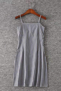 Svart Hvit Gingham Slim Casual Dress - Lupsona