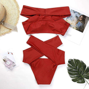 Off-the-shoulder Kräiz 2 Stéck Bikini Set - Lupsona